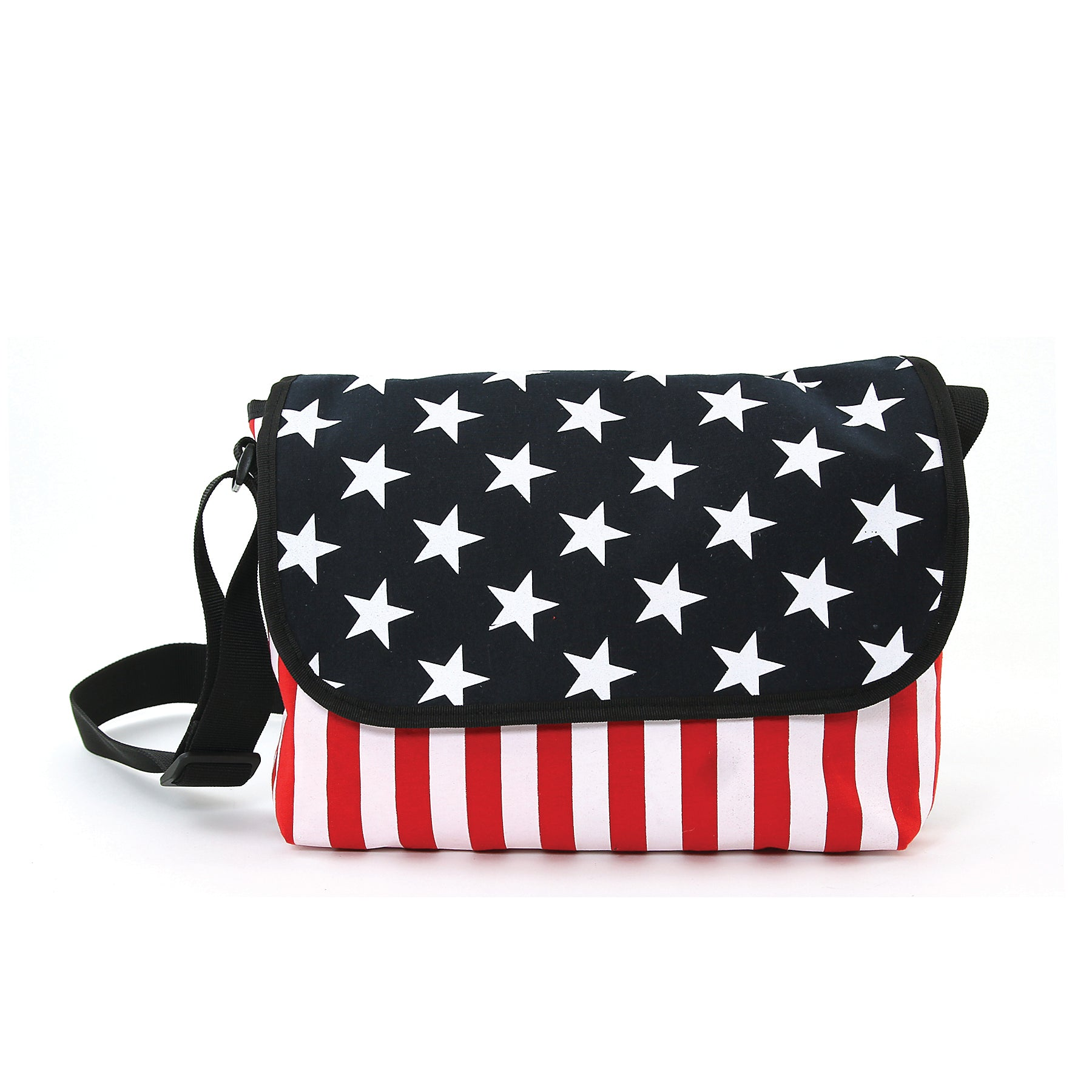 Stars And Stripes Cotton Small Messenger Crossbody in Canvas Material front view