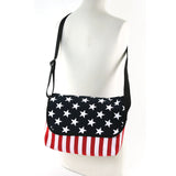Stars And Stripes Cotton Small Messenger Crossbody in Canvas Material, on mannequin, front view