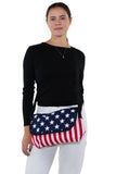 Stars And Stripes Cotton Small Messenger Crossbody in Canvas Material, crossbody style on model