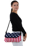 Stars And Stripes Cotton Small Messenger Crossbody in Canvas Material, shoulder bag style on model