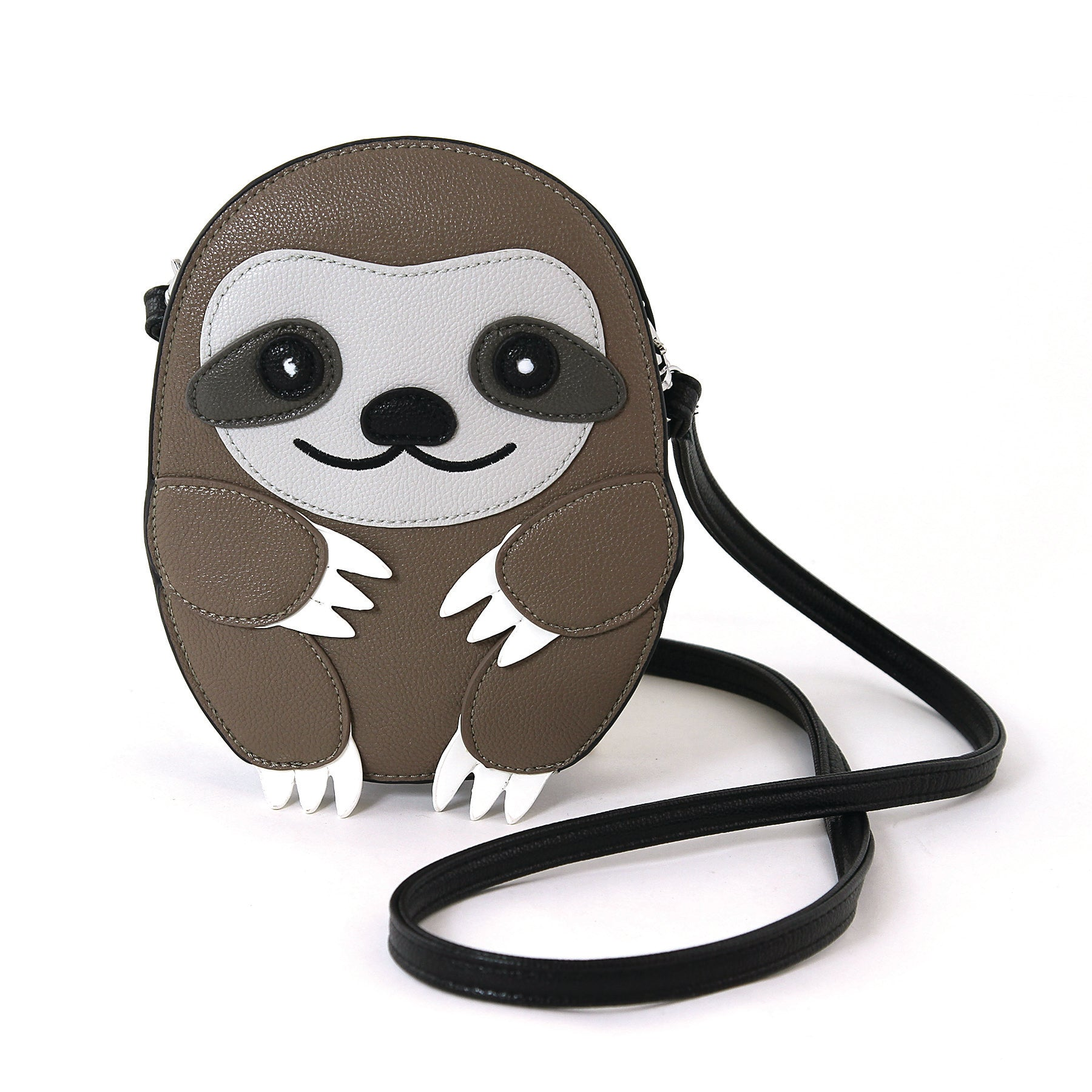 Sleepyville Critters Baby Sloth Shoulder Crossbody Bag in Vinyl Material front view