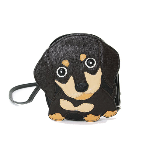 Sleepyville Critters Brown Wiener Puppy Shoulder Crossbody Bag, front view