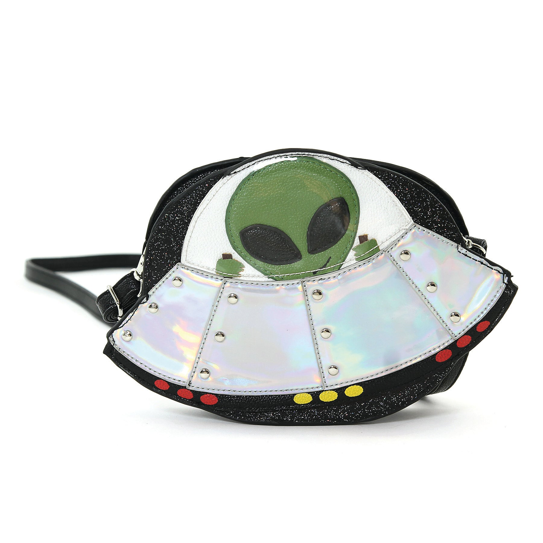 Alien On A Spaceship Shoulder Crossbody Bag in Vinyl Material front view