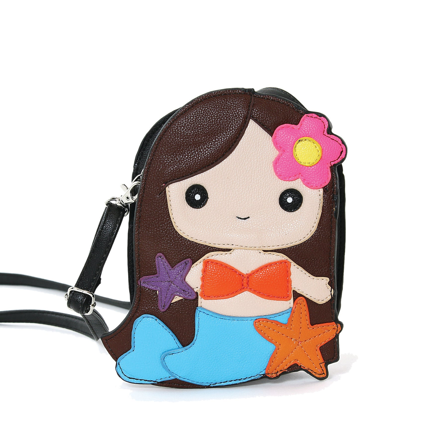 Adorable Mermaid Girl Shoulder Crossbody Bag in Vinyl Material, brown color, front view