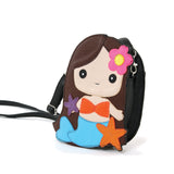 Adorable Mermaid Girl Shoulder Crossbody Bag in Vinyl Material, brown color, side view