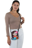 Adorable Mermaid Girl Shoulder Crossbody Bag in Vinyl Material, brown color, crossbody style on model