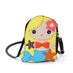 Adorable Mermaid Girl Shoulder Crossbody Bag in Vinyl Material, gold color, front view