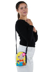 Adorable Mermaid Girl Shoulder Crossbody Bag in Vinyl Material, gold color, shoulder bag style on model