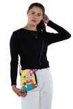 Adorable Mermaid Girl Shoulder Crossbody Bag in Vinyl Material, gold color, crossbody style on model