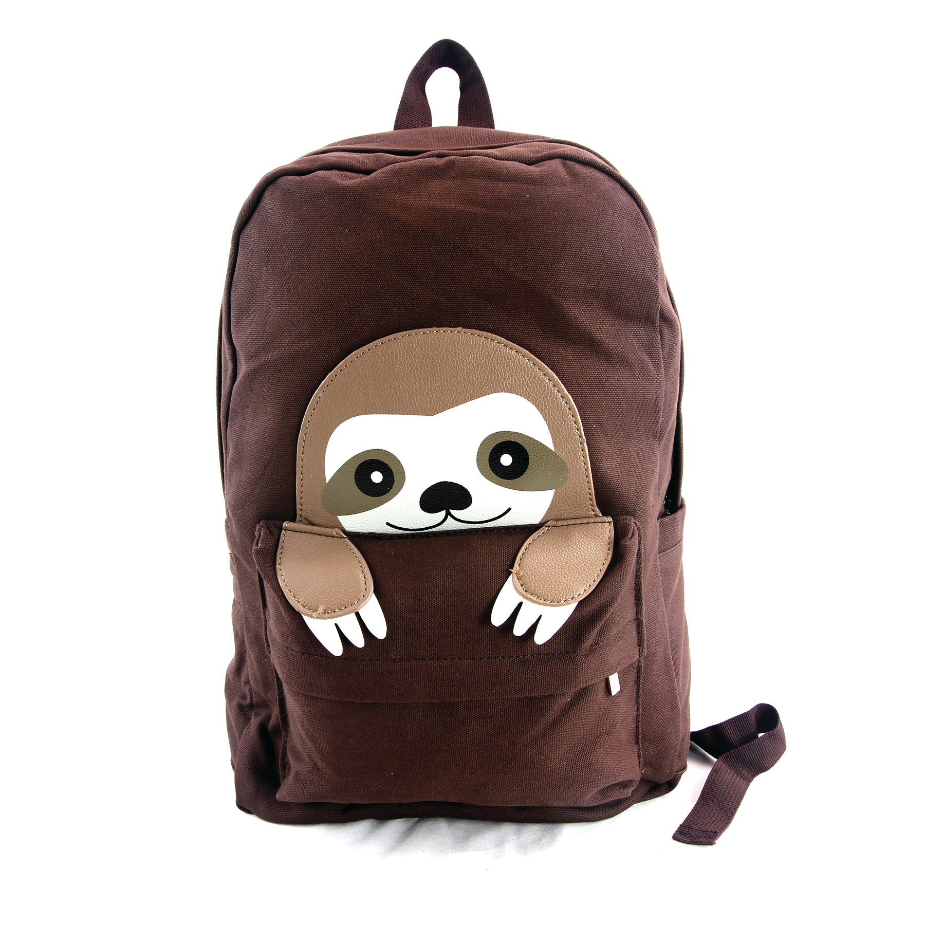 Peeking Baby Sloth Canvas Backpack front view
