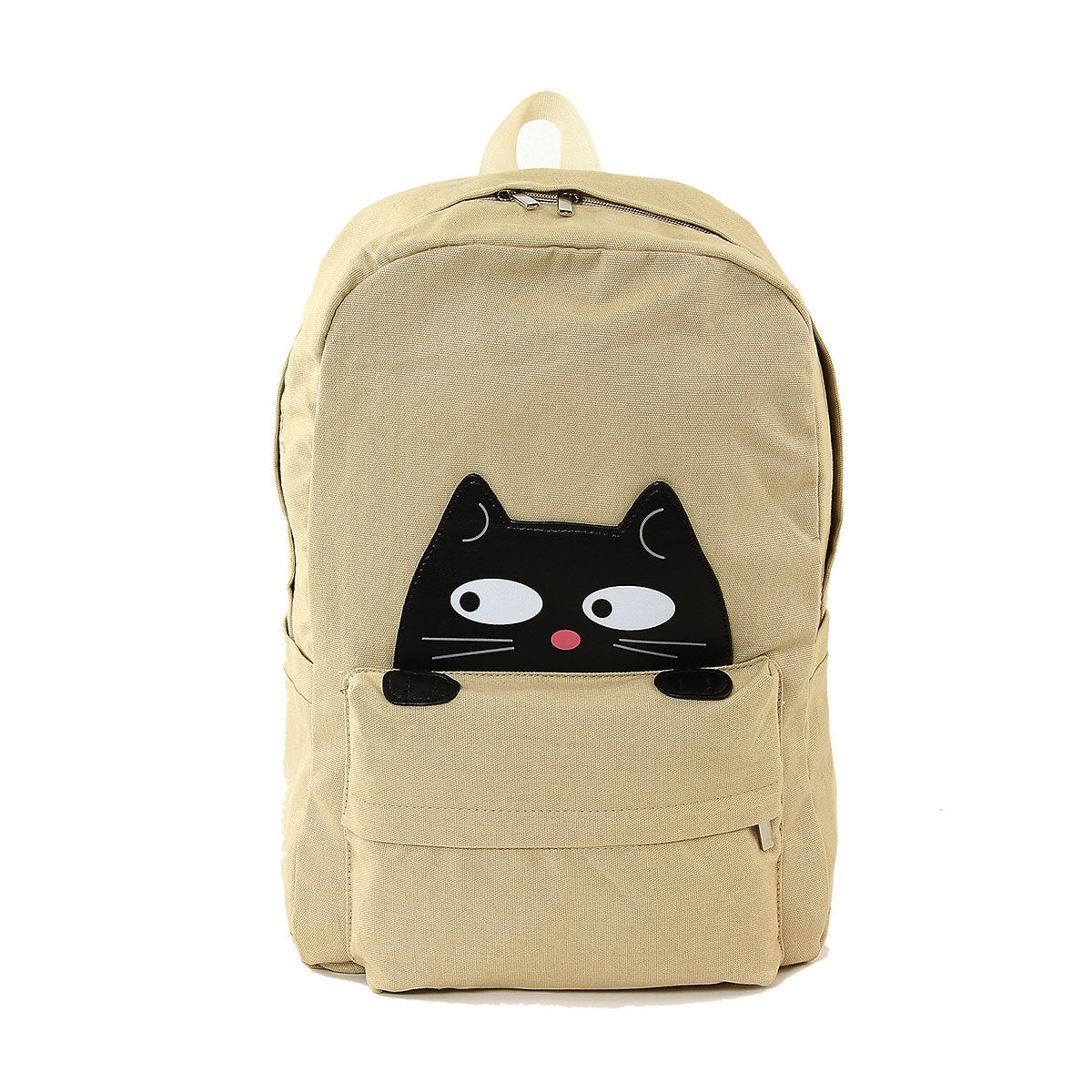 Sleepyville Critters - Peeking Black Cat Canvas Backpack, front view