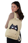 Sleepyville Critters - Peeking Black Cat Canvas Backpack, backpack style on model