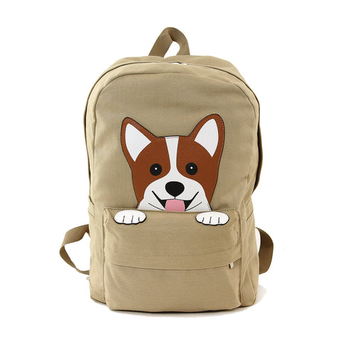 Peeking Corgi Dog Canvas Backpack front view