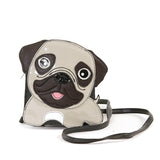 Sleepyville Critters - Adorable Little Pug Cross Body Bag in Vinyl Material front view
