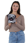 Sleepyville Critters - Adorable Little Pug Cross Body Bag in Vinyl Material, front view, handheld by model
