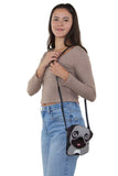Sleepyville Critters - Adorable Little Pug Cross Body Bag in Vinyl Material, shoulder bag style on model