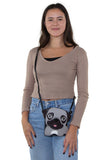 Sleepyville Critters - Adorable Little Pug Cross Body Bag in Vinyl Material, crossbody style on model