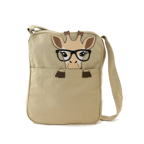 Peeking Nerdy Giraffe Canvas Messenger Bag front view