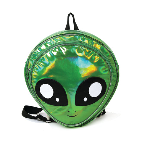 Green Alien Head Vinyl Backpack in Vinyl Material, green color, front view
