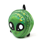 Green Alien Head Vinyl Backpack in Vinyl Material, green color, side view