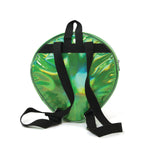 Green Alien Head Vinyl Backpack in Vinyl Material, green color, back view