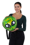 Green Alien Head Vinyl Backpack in Vinyl Material, green color, front view, handheld by model