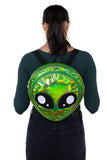 Green Alien Head Vinyl Backpack in Vinyl Material, green color, backpack style on model