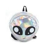 Green Alien Head Vinyl Backpack in Vinyl Material, silver color, front view