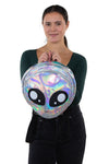 Green Alien Head Vinyl Backpack in Vinyl Material, silver color, front view, handheld by model