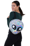 Green Alien Head Vinyl Backpack in Vinyl Material, silver color, backpack style on model