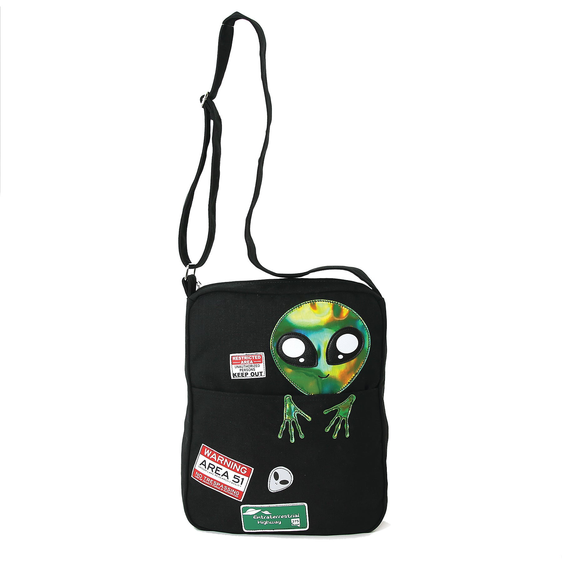 Peeking Alien Canvas Messenger Bag front view