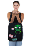 Peeking Alien Canvas Messenger Bag, front view, handheld by model