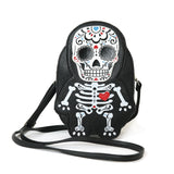 Tattooed Skeleton Man With A Heart Shoulder Crossbody Bag in Vinyl Material front view