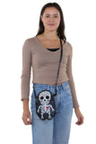 Tattooed Skeleton Man With A Heart Shoulder Crossbody Bag in Vinyl Material, crossbody style on model