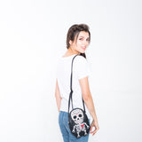 Tattooed Skeleton Man With A Heart Shoulder Crossbody Bag in Vinyl Material, on model front view