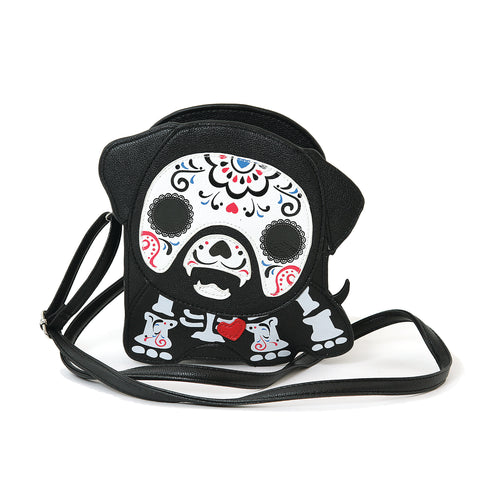 Tattooed Skeleton Dog With A Heart Shoulder Crossbody Bag in Vinyl Material front view