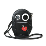 Stitched Voodoo Doll Shoulder Crossbody Bag in Vinyl Material, black color, front view