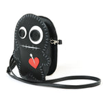 Stitched Voodoo Doll Shoulder Crossbody Bag in Vinyl Material, black color, side view