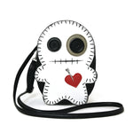 Stitched Voodoo Doll Shoulder Crossbody Bag in Vinyl Material, white color, front view