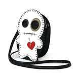 Stitched Voodoo Doll Shoulder Crossbody Bag in Vinyl Material, white color, side view