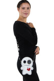 Stitched Voodoo Doll Shoulder Crossbody Bag in Vinyl Material, shoulder bag style on model