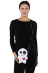 Stitched Voodoo Doll Shoulder Crossbody Bag in Vinyl Material, crossbody style on model
