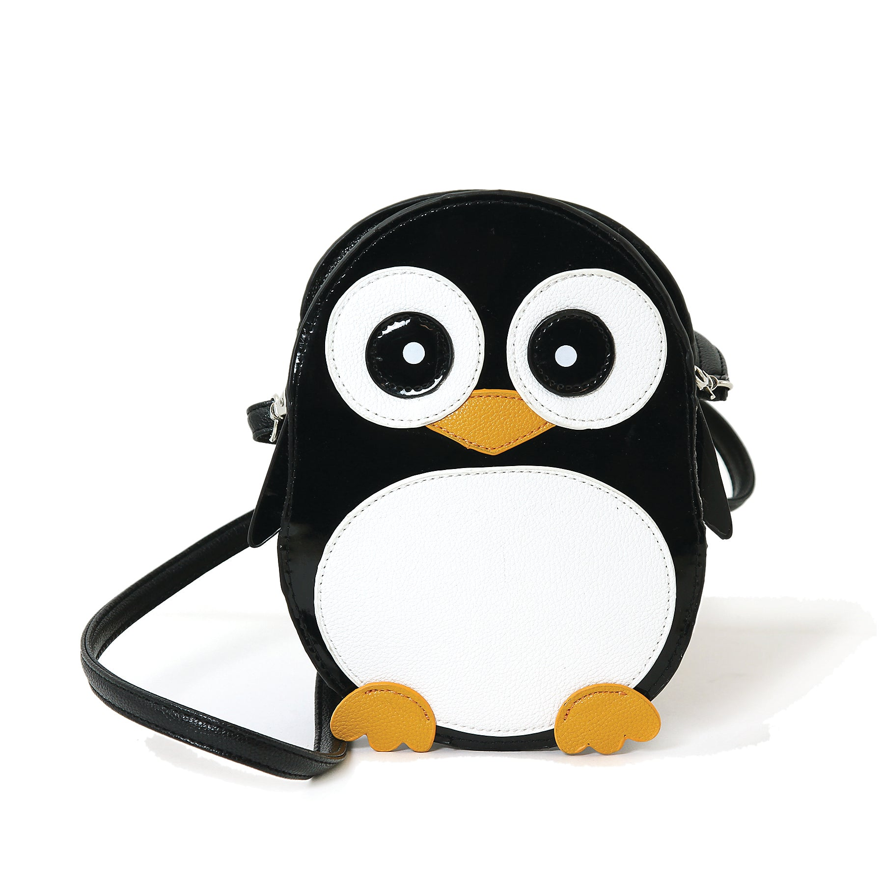 Wide-Eyed Penguin Shoulder Crossbody Bag in Vinyl Material front view