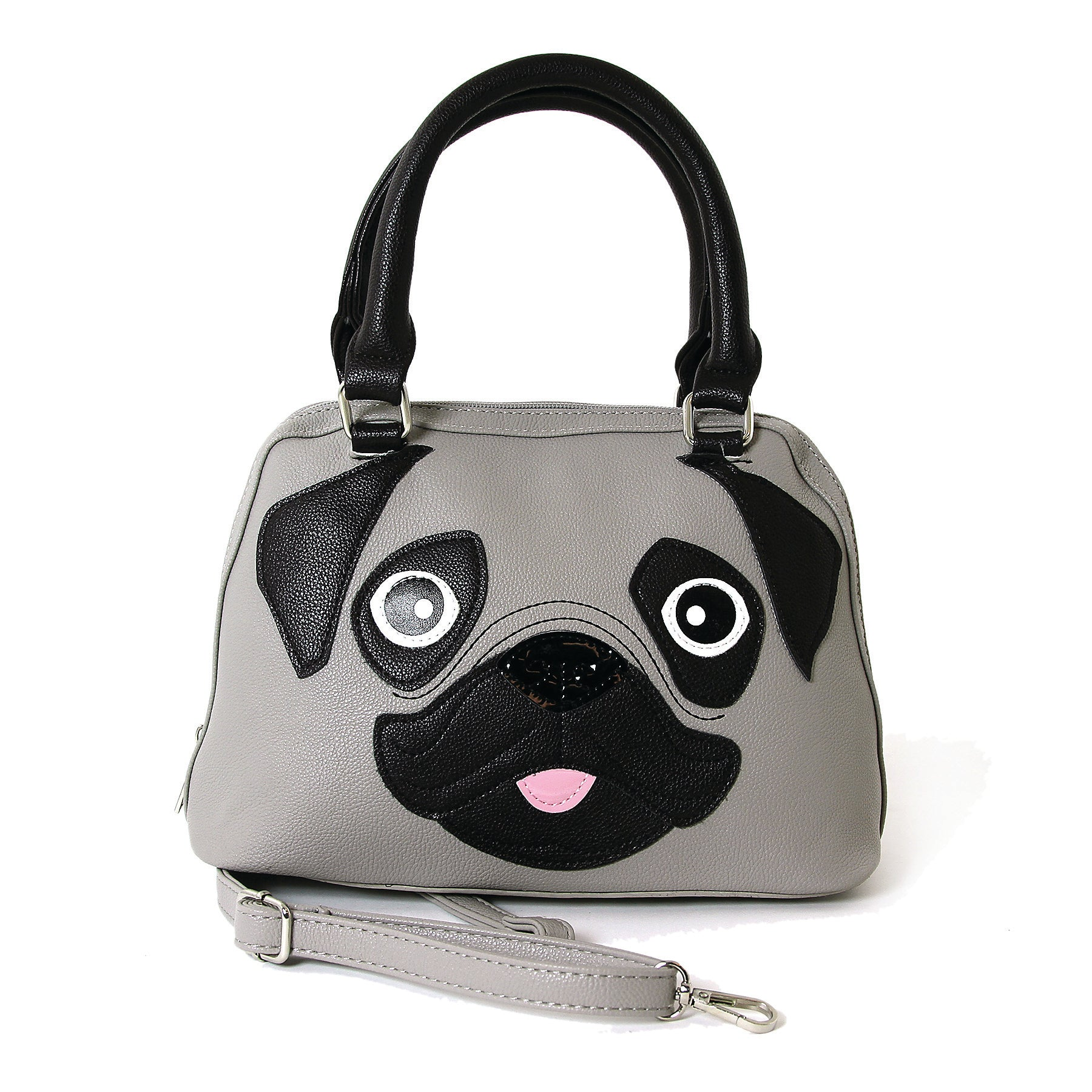 Cute Little Pug Puppy Satchel Handbag in Vinyl Material front view