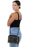 Vintage Hard Bound Story Book Clutch Shoulder Bag, crossbody style on model