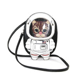 Astronaut Cat Shoulder Crossbody Bag in Vinyl Material front view