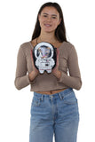 Astronaut Cat Shoulder Crossbody Bag in Vinyl Material, front view, handheld by model
