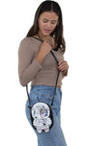 Astronaut Cat Shoulder Crossbody Bag in Vinyl Material, shoulder bag style on model
