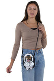 Astronaut Cat Shoulder Crossbody Bag in Vinyl Material, crossbody style on model