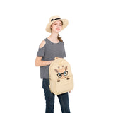 Nerdy Baby Giraffe Canvas Backpack, model front view